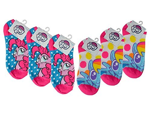 (6-Pairs My Little Pony Girls No-Show Anklet Socks, Neon Polka Dot, Rainbow Dash & Pinkie Pie)