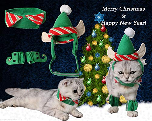 Fast and Good Cat Santa Christmas Elf Hat + Collar + 2Pcs Elf Foot Straps, Head Wear Accesories Chri - http://coolthings.us
