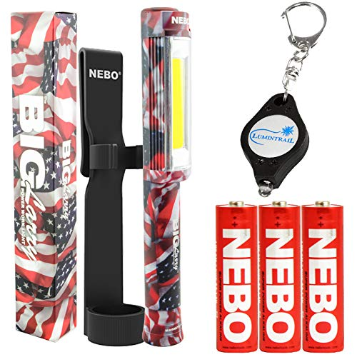NEBO Big Larry 400 Lumen Flashlight Work Light COB Magnetic Bundle with Holster and Lumintrail Keychain Light (Patriotic)