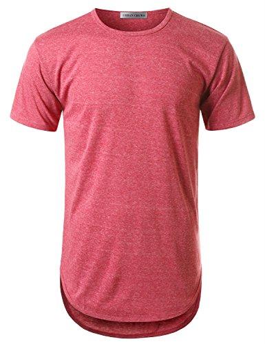 URBANCREWS Mens Hipster Hip Hop Melange Elong Crewneck T-Shirt RED XXLarge