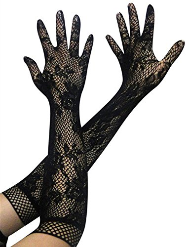 [Yummy Bee Womens Elbow Length Long Opera Black Lace Evening Costume Gloves] (Burlesque Costume Halloween)