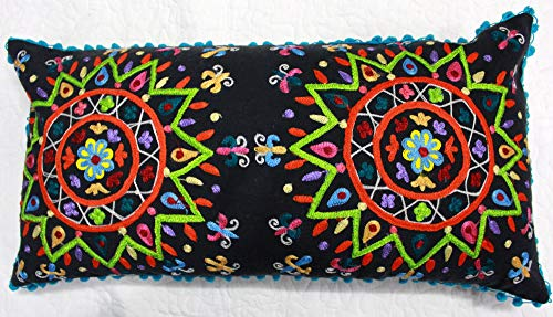 THE ART BOX Cushion Covers Suzani Throw Pillow Cover Suzani Work Cotton Decorative Embroidery Cushion Covers Handmade Pillow Covers Vintage Cushion Covers Traditional (Black, 24x13 Inch)