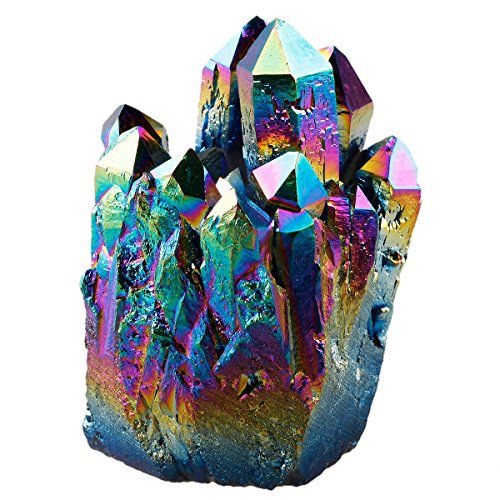 rockcloud Natural Titanium Coated Rainbow Crystal Quartz Cluster Geode Druzy Home Decoration Gemstone (Rainbow Stone)