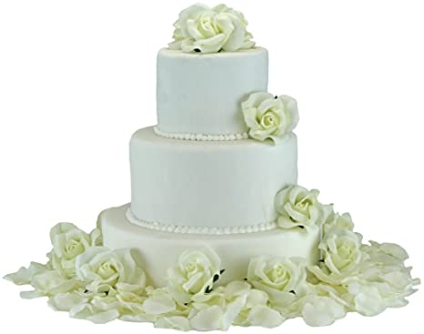 Amazon ivory silk rose cake flowers reception decoration ivory silk rose cake flowers reception decoration junglespirit Gallery