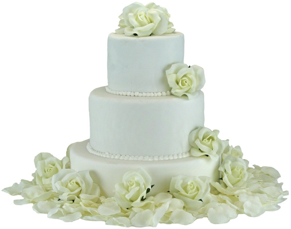 Ivory Silk Rose Cake Flowers - Reception Decoration