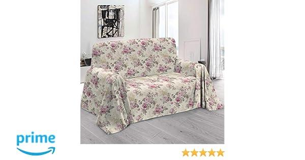HomeLife – Foulard Multiusos – Tela Decorativa Cubre sofá con Elegante diseño Floral de Rosas, 160x280, fabricación Italiana – Granfoulard de algodón ...