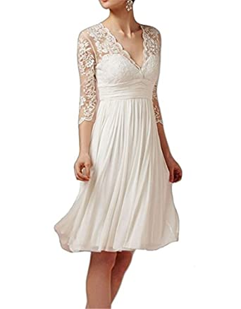 CCBubble Short Lace Wedding Dresses 3/4 Sleeves Simple Wedding Gown ...