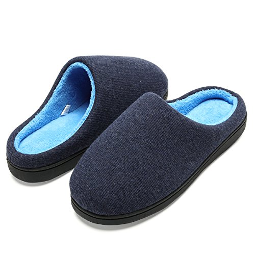 Men's Classic Memory Foam Plush House Slippers, Spring Summer Breathable Indoor/Outdoor Shoes by Harrms