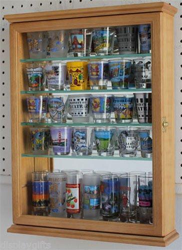 36 Shot Glass Shooter Display Case Cabinet With Door Mirror Back