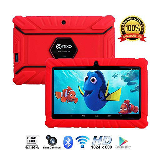 Contixo Kids Tablet K2 | 7 Display Android 6.0 Bluetooth WiFi Camera Parental Control Children Infant Toddlers Includes Tablet Case (Red)