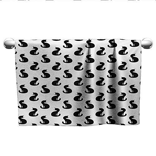 Cat,Wash Towels Silhouette of a Kitten Monochrome Feline Pattern House Pet Illustration Halloween Quick-Dry Towels Black White W 14