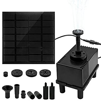 """Ankway 1.5W Solar Water Pump Kit with Filter 128"""" Wire Length Solar Power Water Pump Kit for Bird Bath,Fish Tank,Small Pond, Pool and Garden Decoration (Different Spray Heads Included)"""