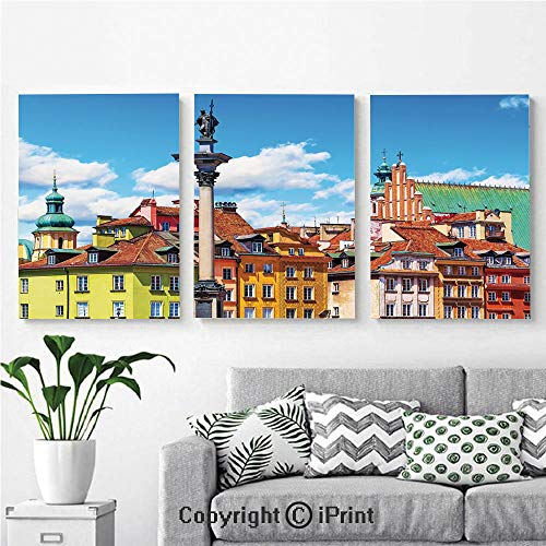 Modern Salon Theme Mural Scenic Summer Castle Square Ancient Sigismund Column Old Town in Warsaw Poland Decorative Painting Canvas Wall Art for Home Decor 24x36inches 3pcs/Set, Multicolor ()