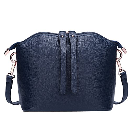 Messenger Handbag Darkblue Leather Shoulder Shell Bag Bag Fashion Shell Bag wq1HX01