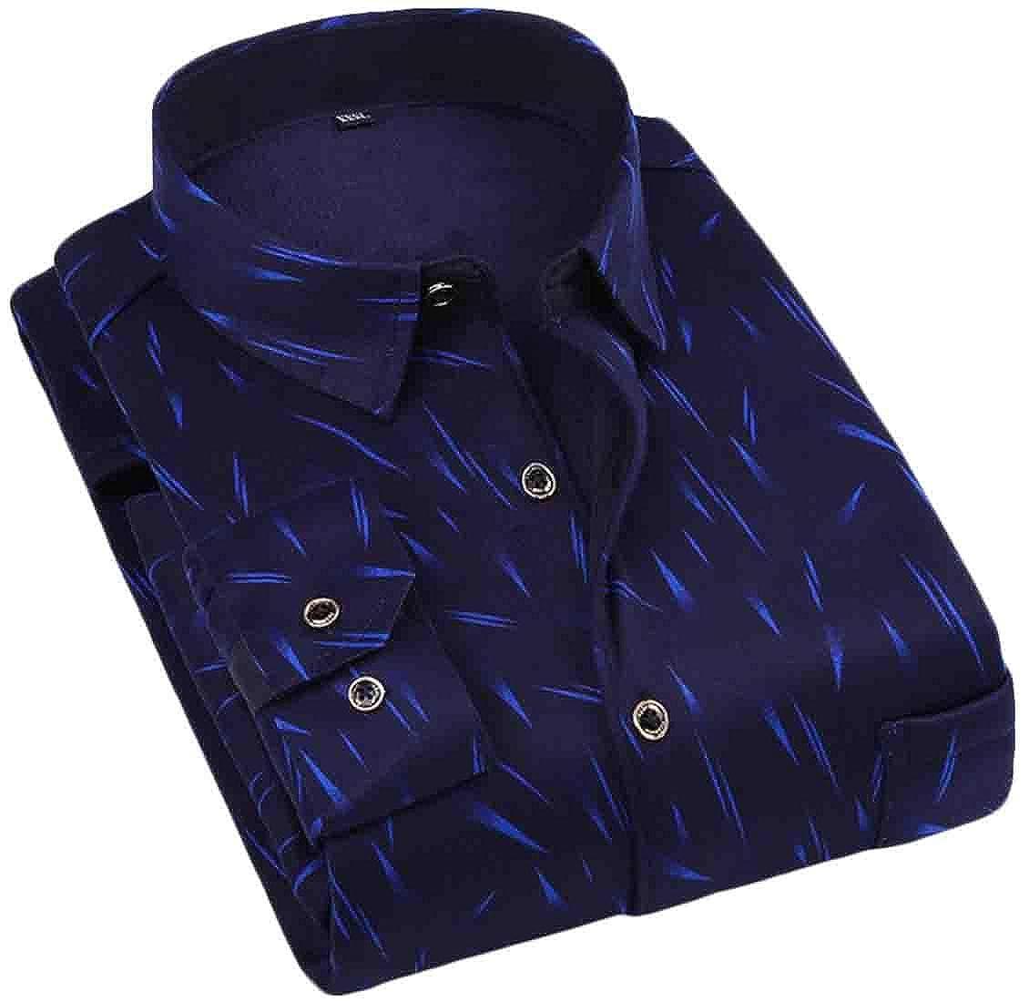 Domple Men Long Sleeve Fleece Linen Print Winter Button Down Shirts