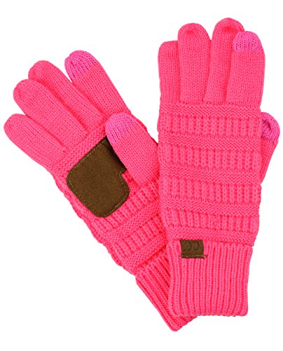 C C Unisex Cable Knit Winter Warm Anti Slip Touchscreen Texting Gloves  Candy Pink