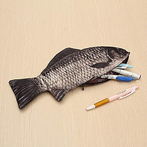 DEESEE(TM)Carp Pen Bag Realistic Fish Shape Make-up Pouch Pen Pencil Case with Zipper]()