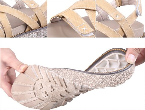H&W Mujer Cuero Real Plataforma Sandalias 4.5CM Velcro Correa Gladiator Gum Goma Soles Broncearse