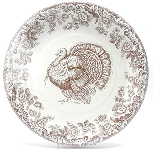 Spode Woodland Celebration Thanksgiving Turkey 10.5-inch Paper Buffet Dinner Plates Brown & White CR Gibson 32 Count