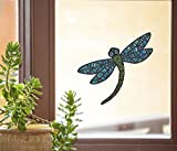 "Patterned Dragonfly - See-Through Vinyl Window Decal - Copyright Yadda-Yadda Design Co. (5""w x 4.75""h) (MEDIUM, BLUE)"