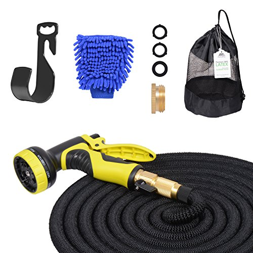 Adoric Life Flexible Expandable 50ft Garden Hose, 100% Latex Core Expanding Water Hose with Solid Brass Connectors, 9 Functions Spray Nozzle Solid Spray Nozzle
