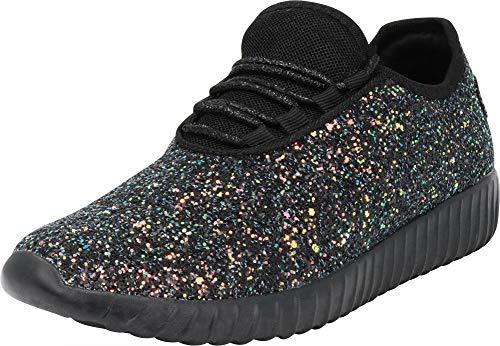 Cambridge Select Women's Closed Toe Glitter Encrusted Lace-Up Casual Sport Fashion Sneaker Multi Black