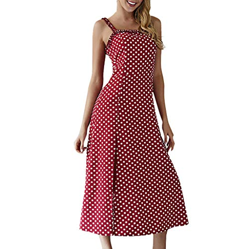 2019 Summer Women's Boho Sleeveless Sundress Sexy Polka Dot Print Long Dress Red