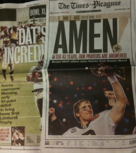 New Orleans Times Picayune February 8  2010 Saints Win Super Bowl