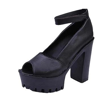 8148edc785eb New Women s High Heel Thong Sandals black Size  3 UK  Amazon.co.uk ...