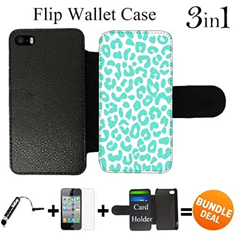 Turquoise Cheetah Pattern Custom iPhone 5 Wallet Cases/5S Wallet Cases,Bundle 3in1 Comes with Screen Protector/Universal Stylus Pen by (Iphone 5 Cases Cheetah)