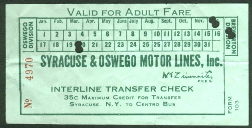 - Syracuse & Oswego Motor Lines Interline Transfer Adult Fare Ticket NY
