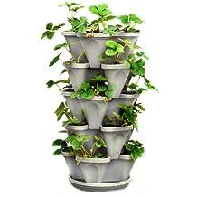 Macetero apilable de 5 niveles para fresas, hierbas, flores y verduras, jardinería vertical para apilar macetas de jardín en interiores o exteriores, Piedra