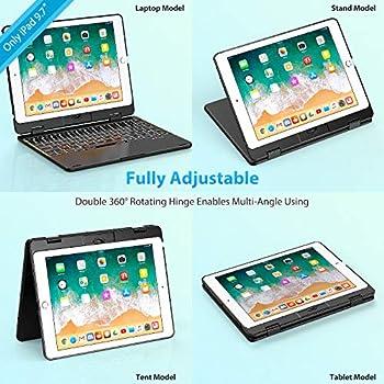 "Keyboard Case Compatible with 2017 iPad 9.7"" (5th Gen) & 2018 iPad 9.7"" (6th Gen) & iPad Air, Bluetooth Folio Hard Back Cover/Aluminum Keyboard Base with Auto Sleep/Wake -Ultra Slim (Silver)"