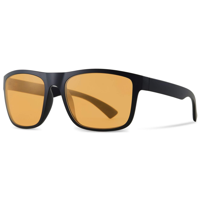Computer Glasses - Quntis Blue Light and Glare Blocking Glasses - Amber Tinted Lens Safety Eyeglasses for Men Women - Lightweight Black Frame (0.00)