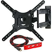 """Mountio MX1 Full Motion Articulating TV Wall Mount Bracket for 32""""-52"""" LED LCD Plasma Flat Screen Monitor up to 70 lbs and VESA 400x400mm"""