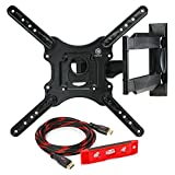 Mountio MX1 Full Motion Articulating TV Wall Mount Bracket for 32''-52'' LED LCD Plasma Flat Screen Monitor up to 70 lbs and VESA 400x400mm