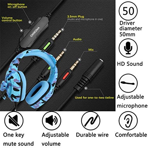 Gaming Headset PS4, Compatible for Xbox One, Nintendo Switch, ONIKUMA K1 Stereo Noise Cancelling Over Ear Headphones with Microphone,Volume Control for PC, Phone, with Free Headphone Hook 51640vNF0ZL