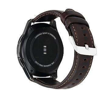 MroTech Correa de Reloj para Gear S3, Correa Cuero Genuino Piel 22mm Pulsera de Repuesto
