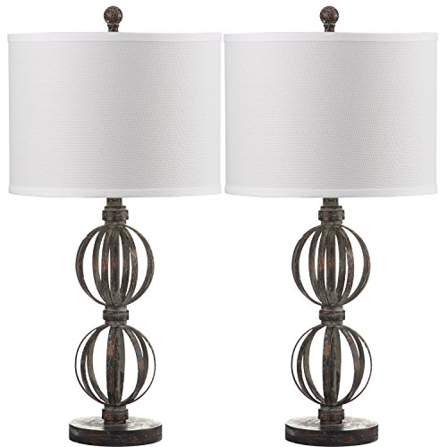 Safavieh Lighting Collection Calista Double Sphere Oil-Rubbed Bronze 27.75-inch Table Lamp (Set of 2)