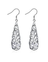"Earrings, Mother's Day Gift with Exquisite Package 925 Sterling Silver Hollowed-out Drop Earrings J.Rosée Fine Jewelry for Women ""Water Drop"" Best Gift for Mom Wife Girlfriend"