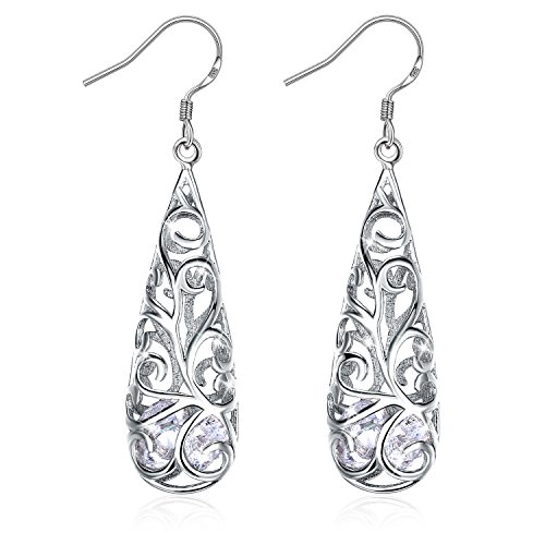 Earrings, Graduation Gifts with Exquisite Package 925 Sterling Silver Hollowed-Out Drop Earrings J.Rosée Fine Jewelry for Women Water Drop Best Gift for Mom Wife Girlfriend