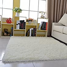 HANYUN Super Soft Modern Living Room Bedroom Anti-skid Shag Area Rug Carpet 4-Feet By 5-Feet / 120cm x 160 x 4.5cm (White)