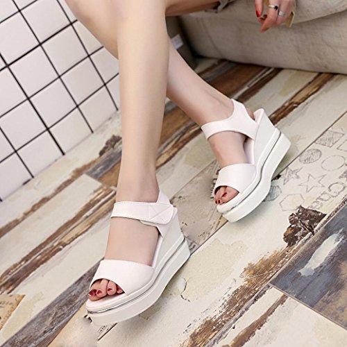 Vovotrade® Sommer Frauen Plattform High Heels Wedges Cut-Outs Sandalen Open Toe Sandalen Schuhe Beige