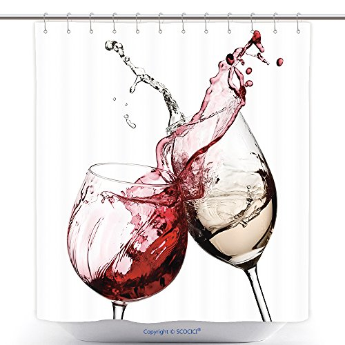 Jelly Splash Costume (Fun Shower Curtains Red And White Wine Splash Diagonal 121087753 Polyester Bathroom Shower Curtain Set With Hooks)