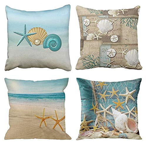 Emvency Set of 4 Throw Pillow Covers Seashells Beach on The Starfish Aqua Gold Assorted Ideas Nautical Decorative Pillow Cases Home Decor Square 16x16 Inches Pillowcases
