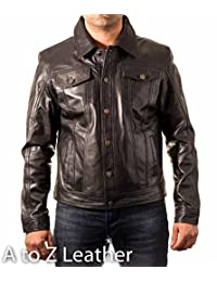 Mens Black leather Casual Fitted Denim Western Trucker Shirt Jacket