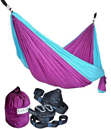 Cutequeen Purple/Sky Blue Hammock with Tree Straps Garden Outdoor Camping Hammocks Nylon Lightweight Multifunctional Parachute for Park,Backyard,Traveling,Backpacking,Yard,Beach