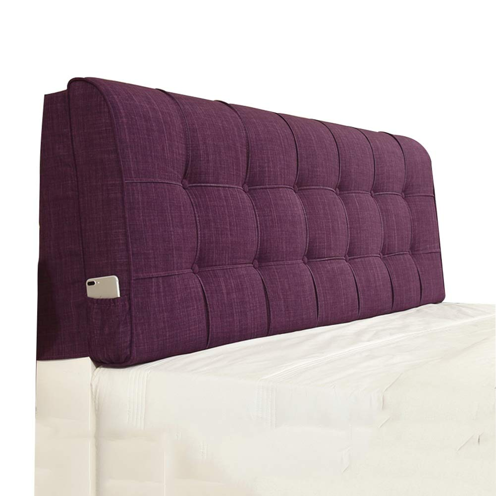 LIXIONG Bed Backrest Cushion Without Headboard Upholstered Pads Bedside Soft Cover Support Reading Pillow Flax 5 Colour,Washable (Color : Purple, Size : 180x10x58cm)