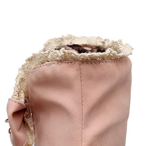 AllhqFashion Mujeres Caña Baja Sin cordones Puntera Redonda Tacón Medio Botas con Lazos Rosa