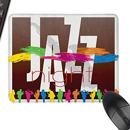 Mini Mouse Pad Music Colorful Jazz Sign with Various Performer Silhouettes Illustration in Retro Boho Art for Laptop, Computer and PC,15.7